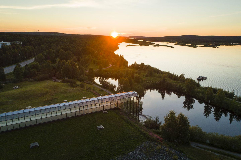 summer sunset behind Arktikum museum in Rovaniemi, Finland