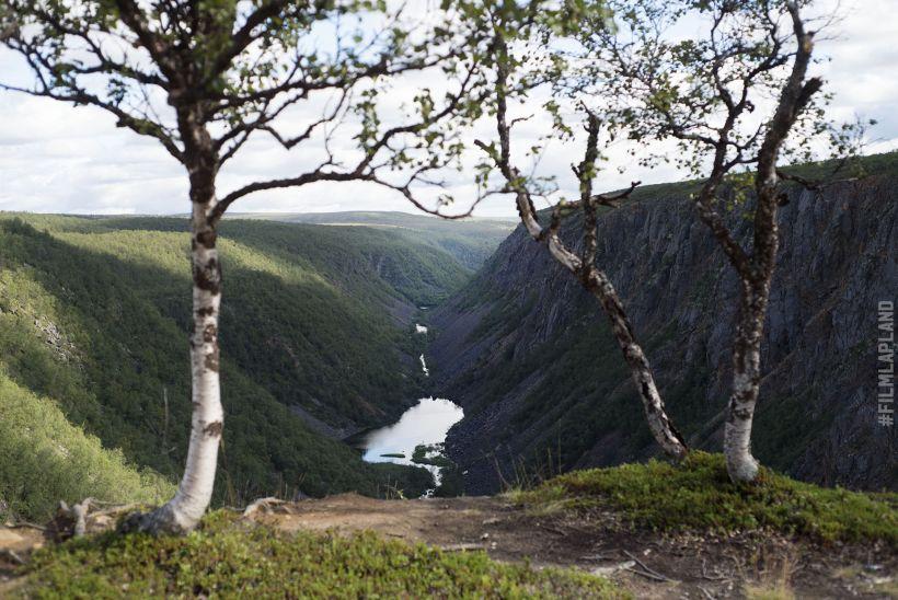 Scandinavian river in canyon in Kevo Strict Nature Reserve in Utsjoki, Finland