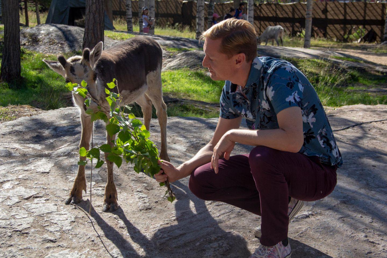 Feeding reindeer at Santa Claus Village in Rovaniemi, Finland