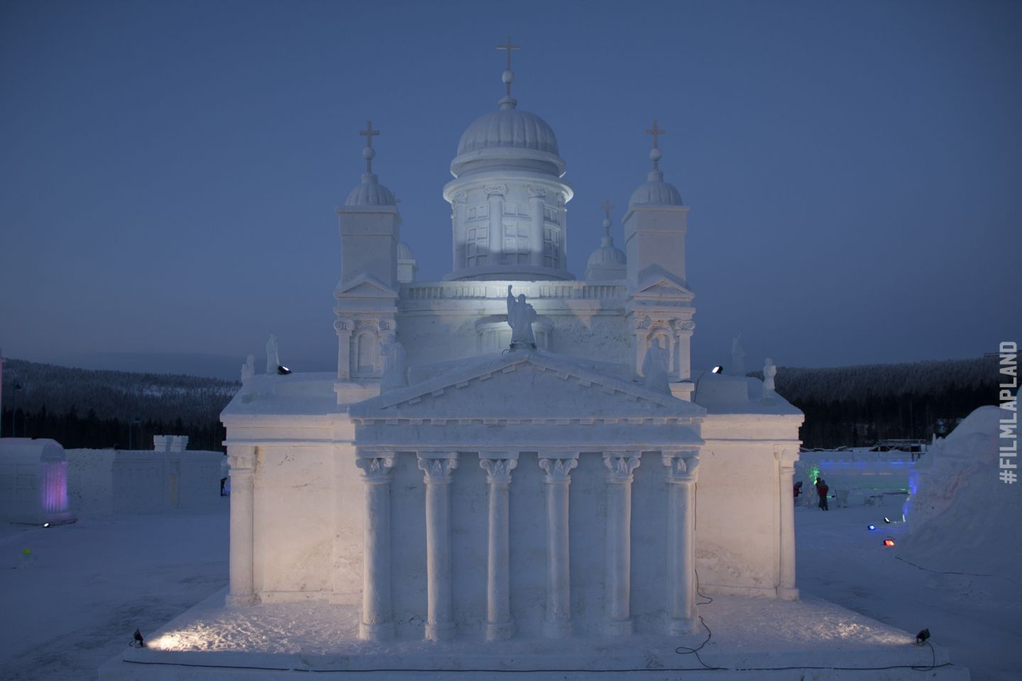 Ice sculpture of Helsinki Cathedral in Levi, Kittilä