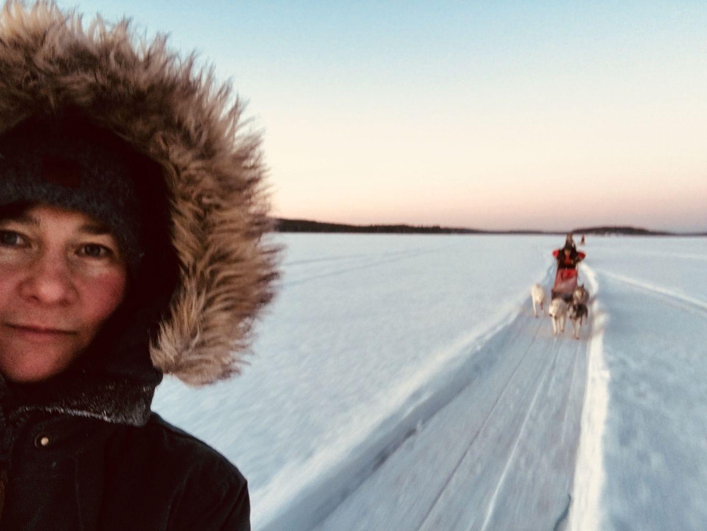 Aksana Kurola husky-ajelulla