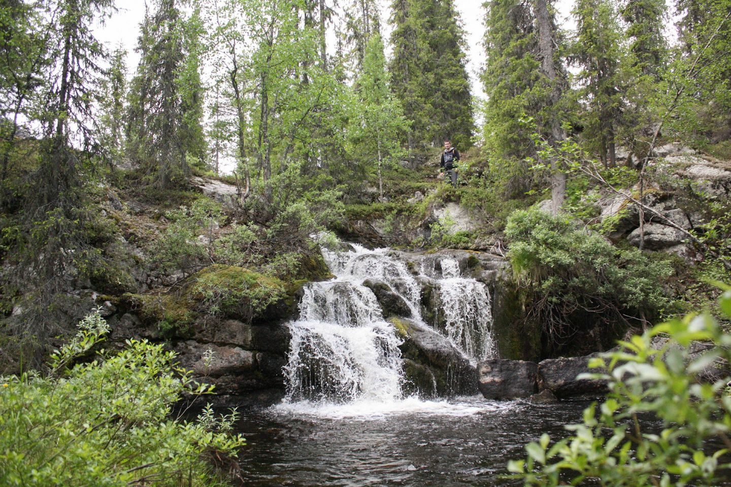 Waterfall in deep forest in Naruska, Salla