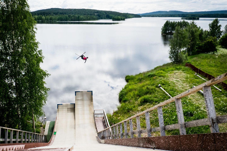 Ski jump in summer in Kemijärvi, Finland