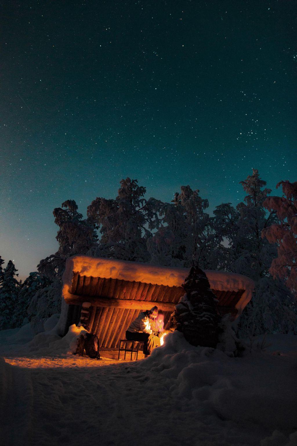 Under the stars in Akasmylly, Lapland
