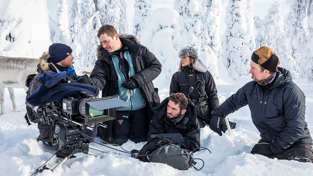 The crew of Ailos Journey filming at Riisitunturi fell in Finnish Lapland