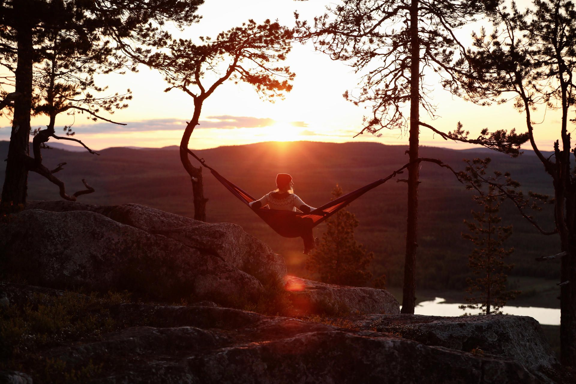 In a hammock atop Aavasaksa Hill in Lapland