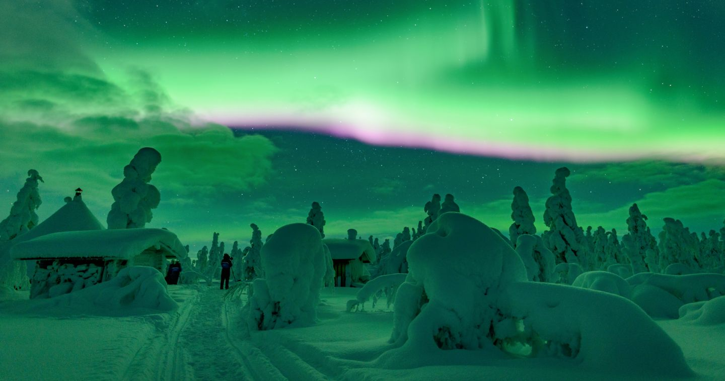 Northern Lights over Finnish Lapland in the winter