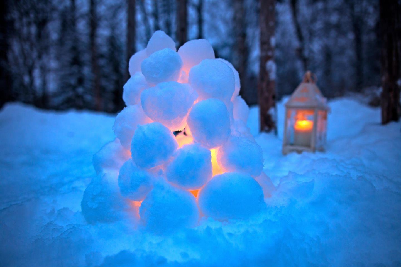 A snow lantern in winter in Finnish Lapland