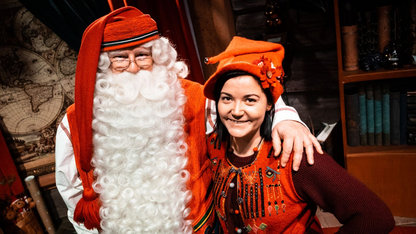 Santa Claus and elf Vanilja at the Santa Claus Office