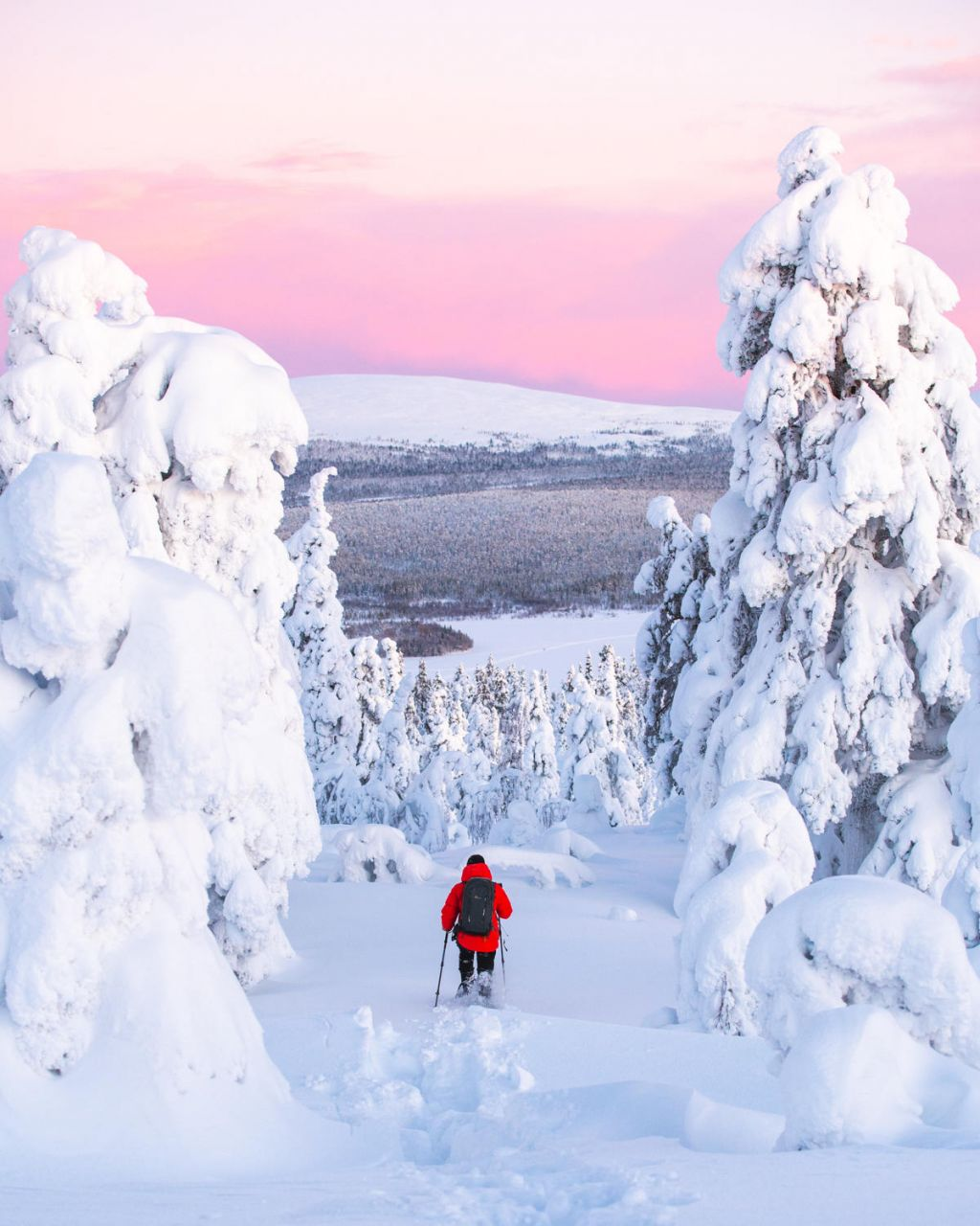 Traversing the snow during Polar Night in Ylläs, Finnish Lapland