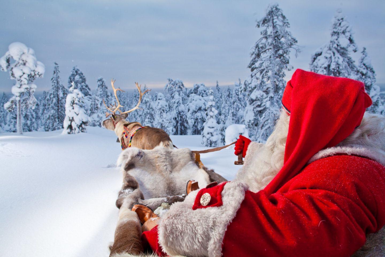Santa Claus reindeer ride in Rovaniemi, Finland
