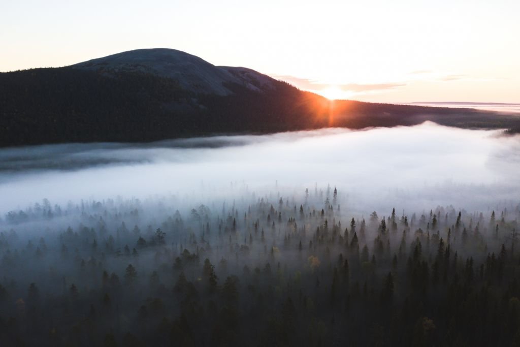 A misty sunrise among the fells of Ylläs, Lapland, Finland