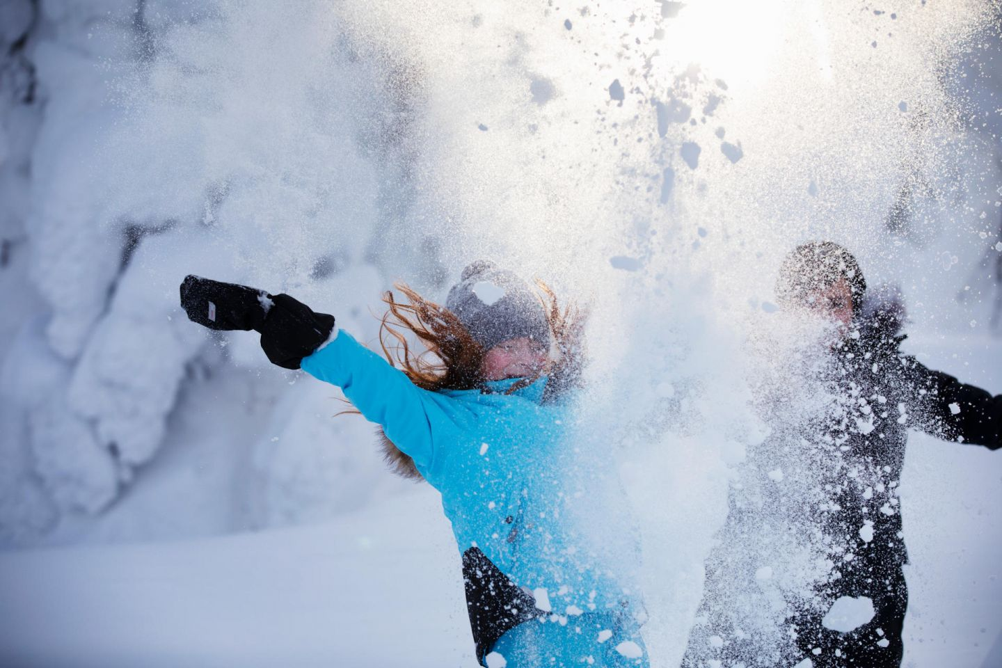 Fun in the snow in winter in Lapland