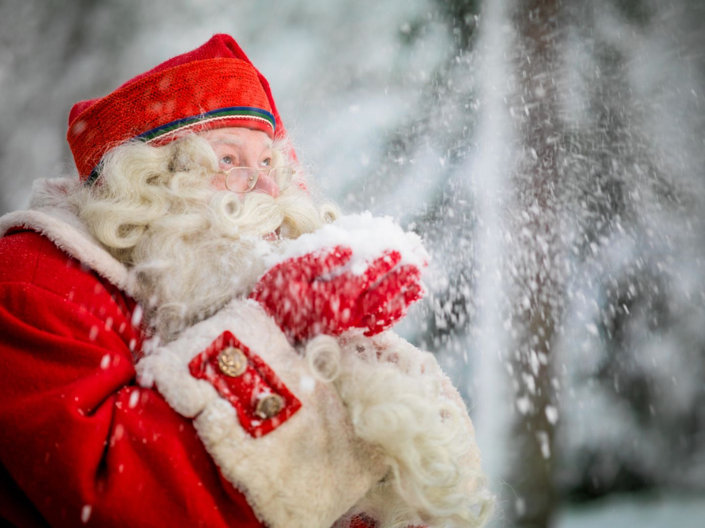 Santa Claus in Lapland in winter