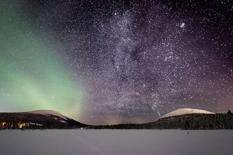 Dark skies above Finnish Lapland in winter