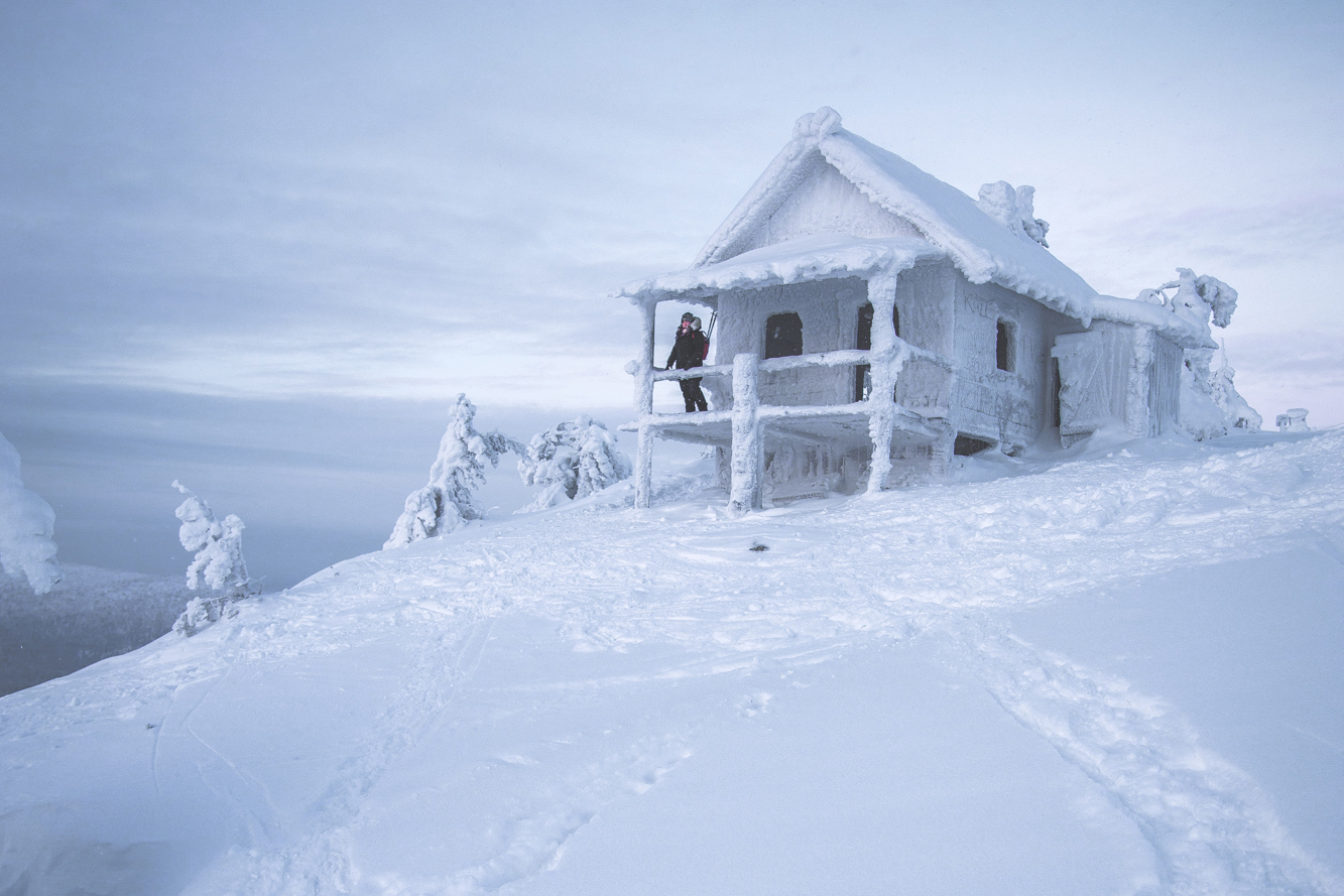 Cabin on fells, Lapland Winter Photography, Levi, Polar Night