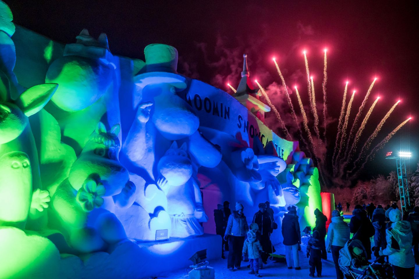 Fireworks over Moomin Snow Castle in Rovaniemi, Finland