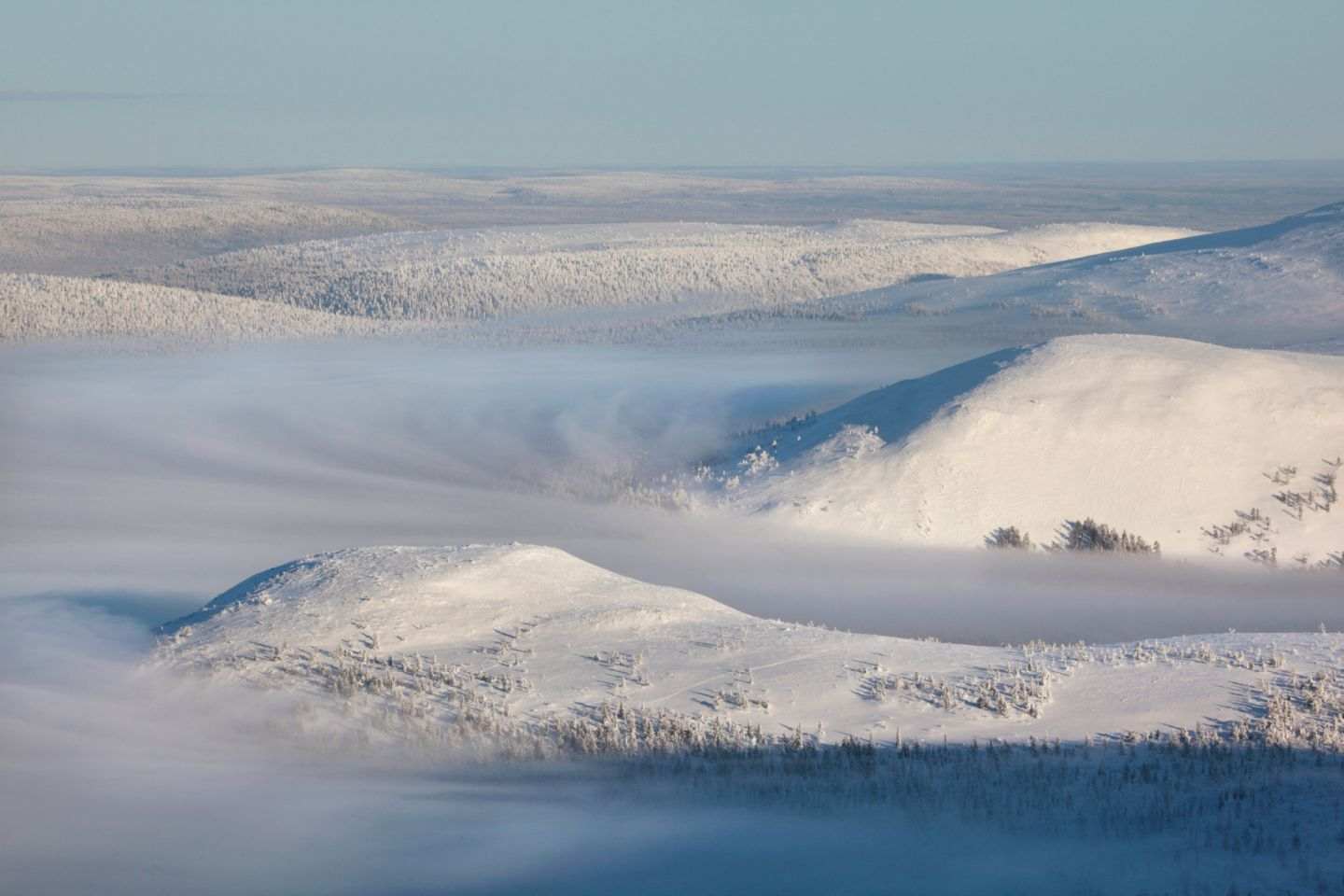 Mist in the valleys of the Ylläs-Pallastunturi National Park