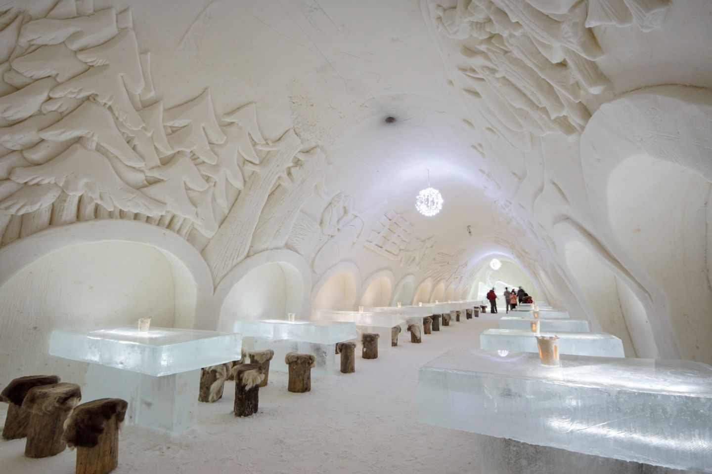 SnowRestaurant in the Kemi SnowCastle in Finnish Lapland