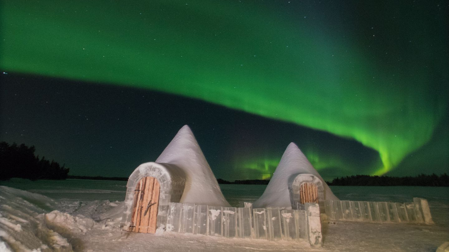Snow Castle under the Northern Lights in Ranua, Lapland Finland Snow Sculpture