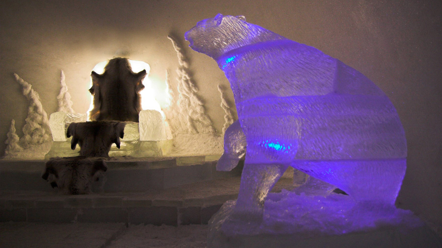 Ice Bear in snow cave, Lapland Finland Snow Sculpture