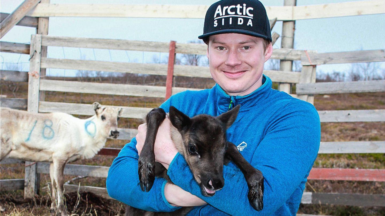 Reindeer herder Aslat-Jon Länsman with a calf in summer