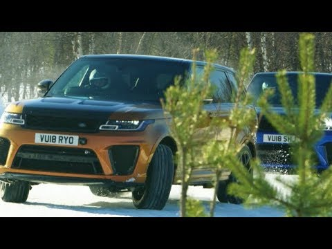 Range Rovers racing on frozen tracks in Ivalo, Finland