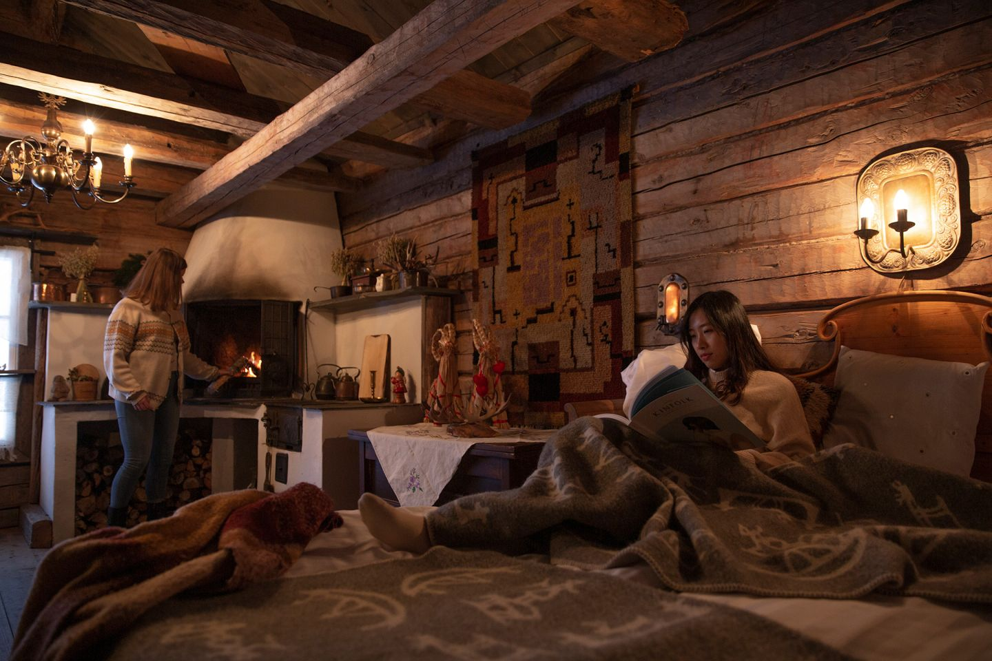 Enjoying a warm cabin on a cold winter day in Finnish Lapland