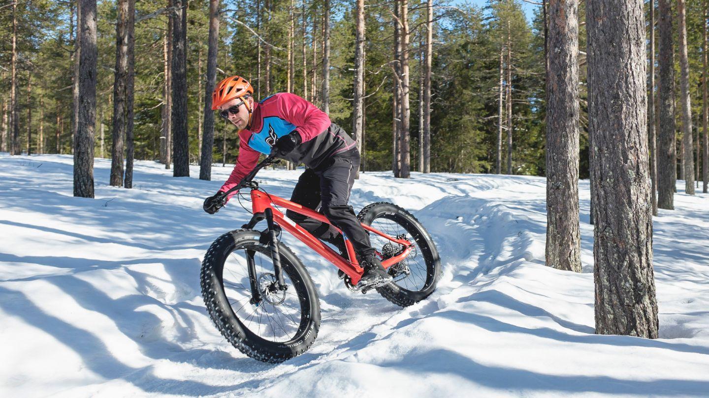 Fatbikella pyöräilyä Rovaniemen Ounasvaaralla