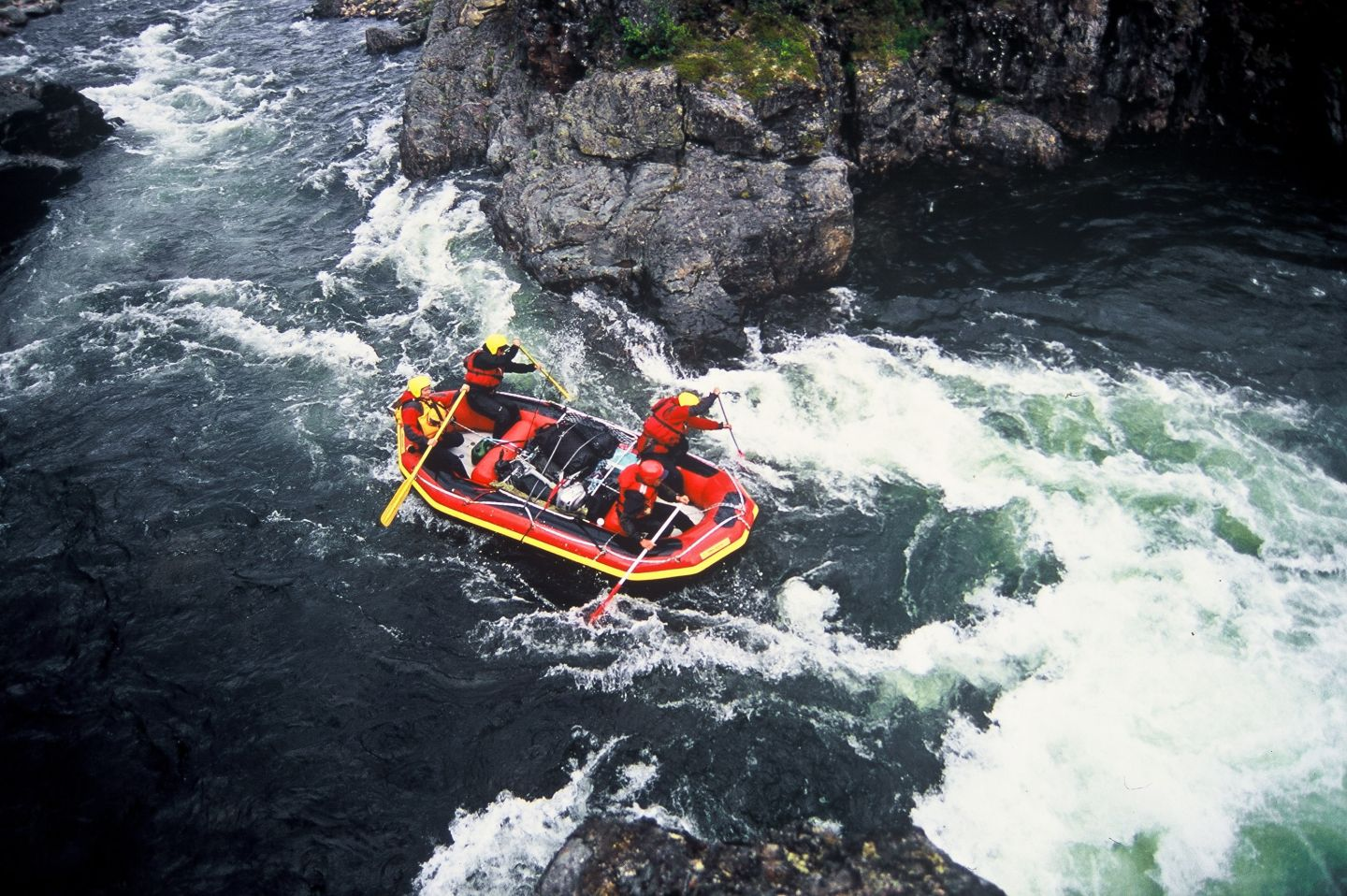 Summer tourism river rafting in Lapland