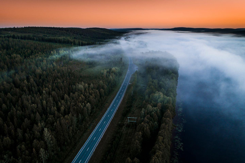 A foggy road in Rovaniemi, Finland