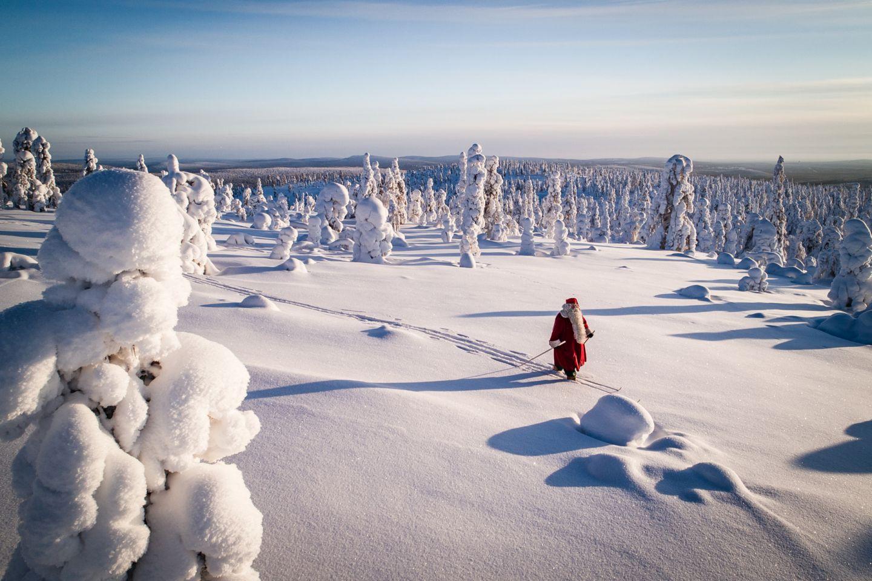 Santa skis in Finnish Lapland