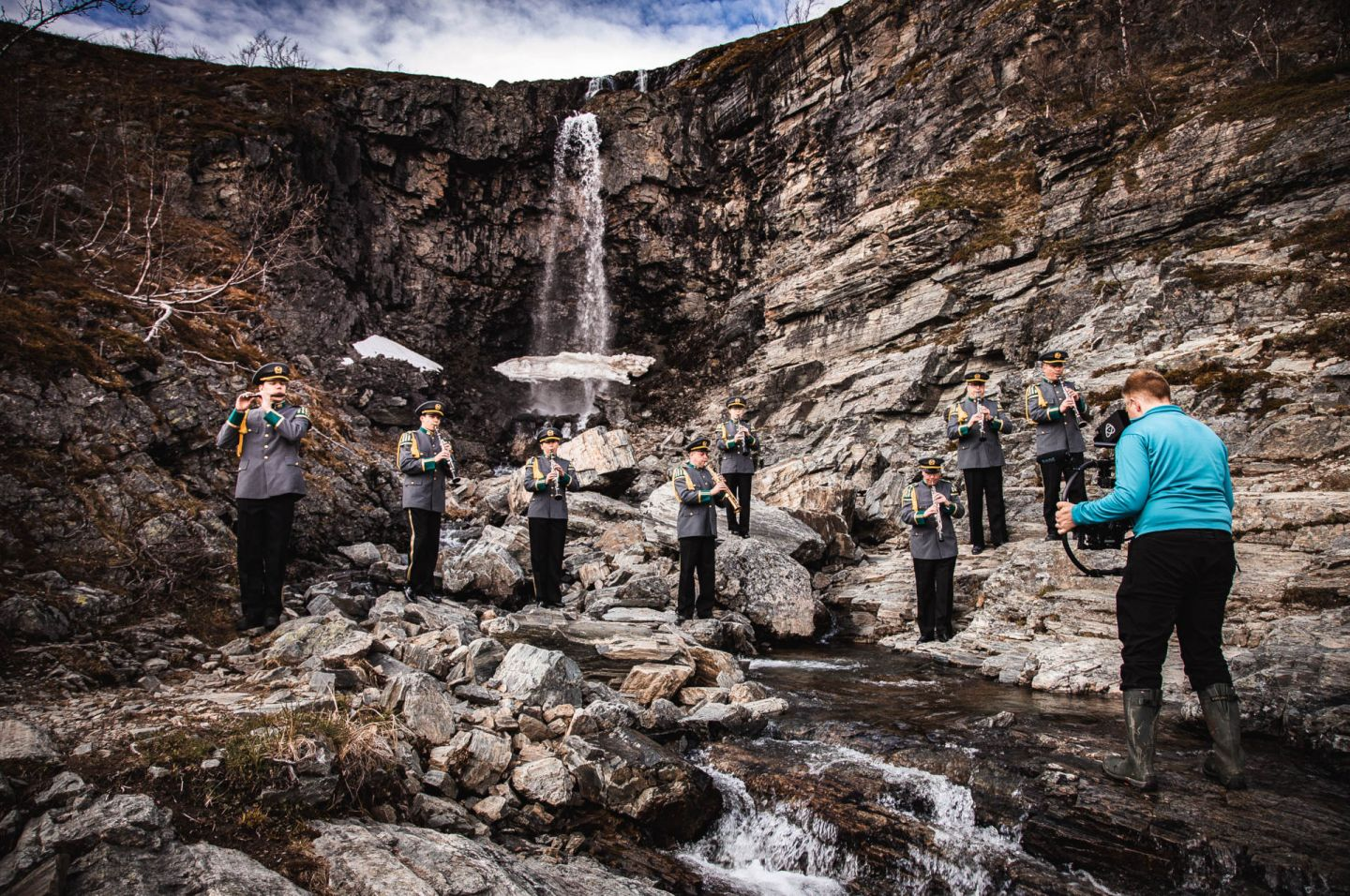 Filming a military band in Kilpisjärvi, Finland