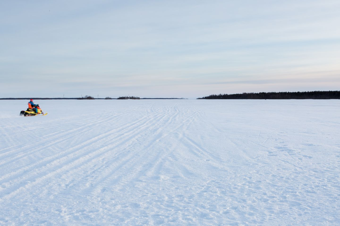 Snowmobile tracks on the frozen sea in Kemi, Finland