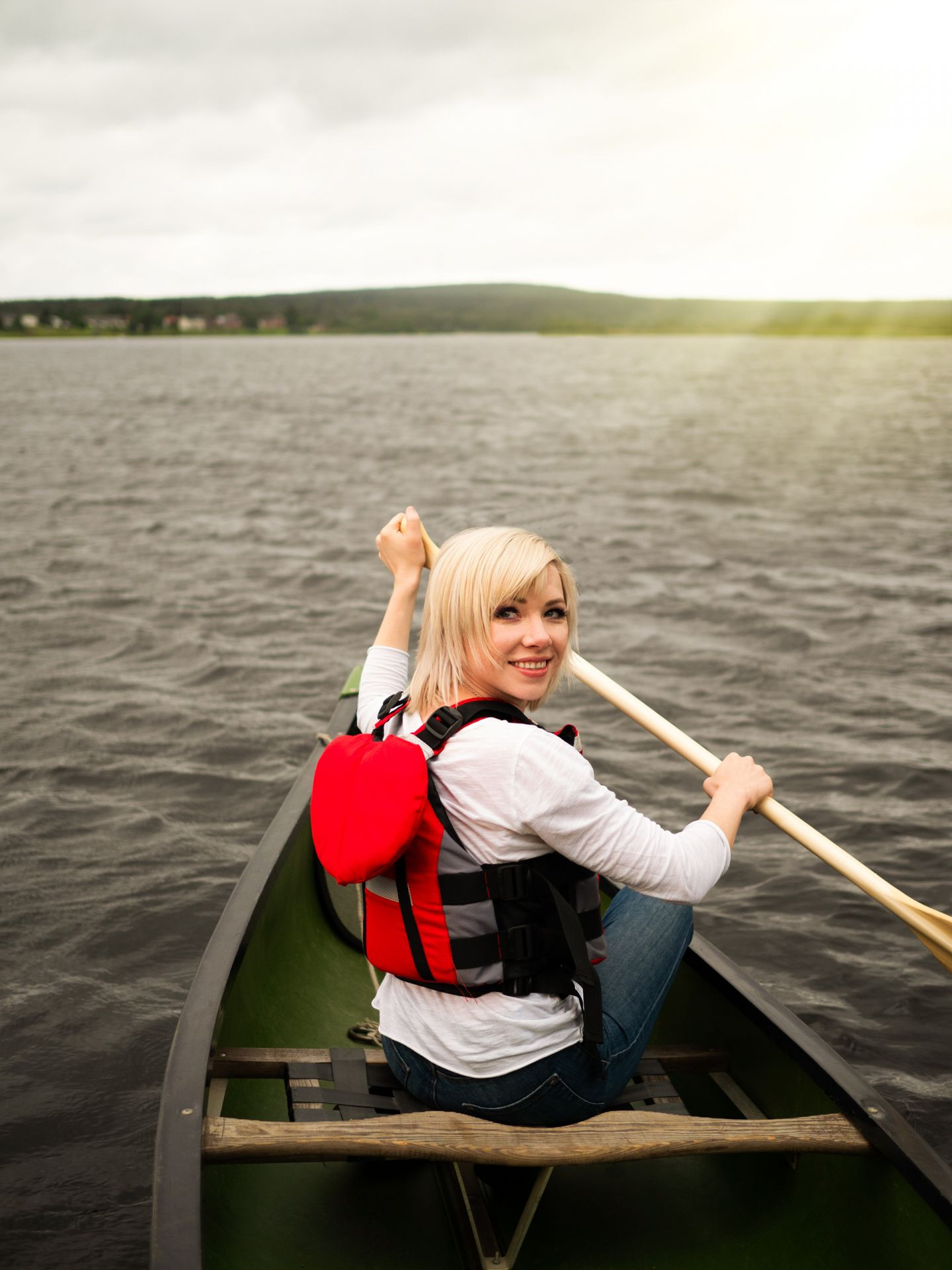 Carly Rae Jepsen on a canoe in Lapland, Finland