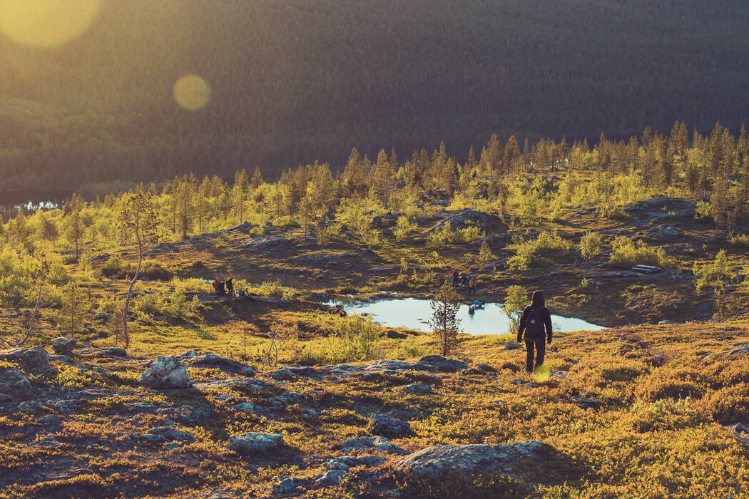 Hiking in Lemmenjoki National Park, the largest in Finland