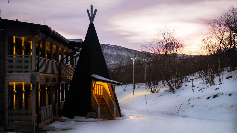 Entrance to Hotel Deatnu at Holiday Village Valle in Utsjoki, Finland