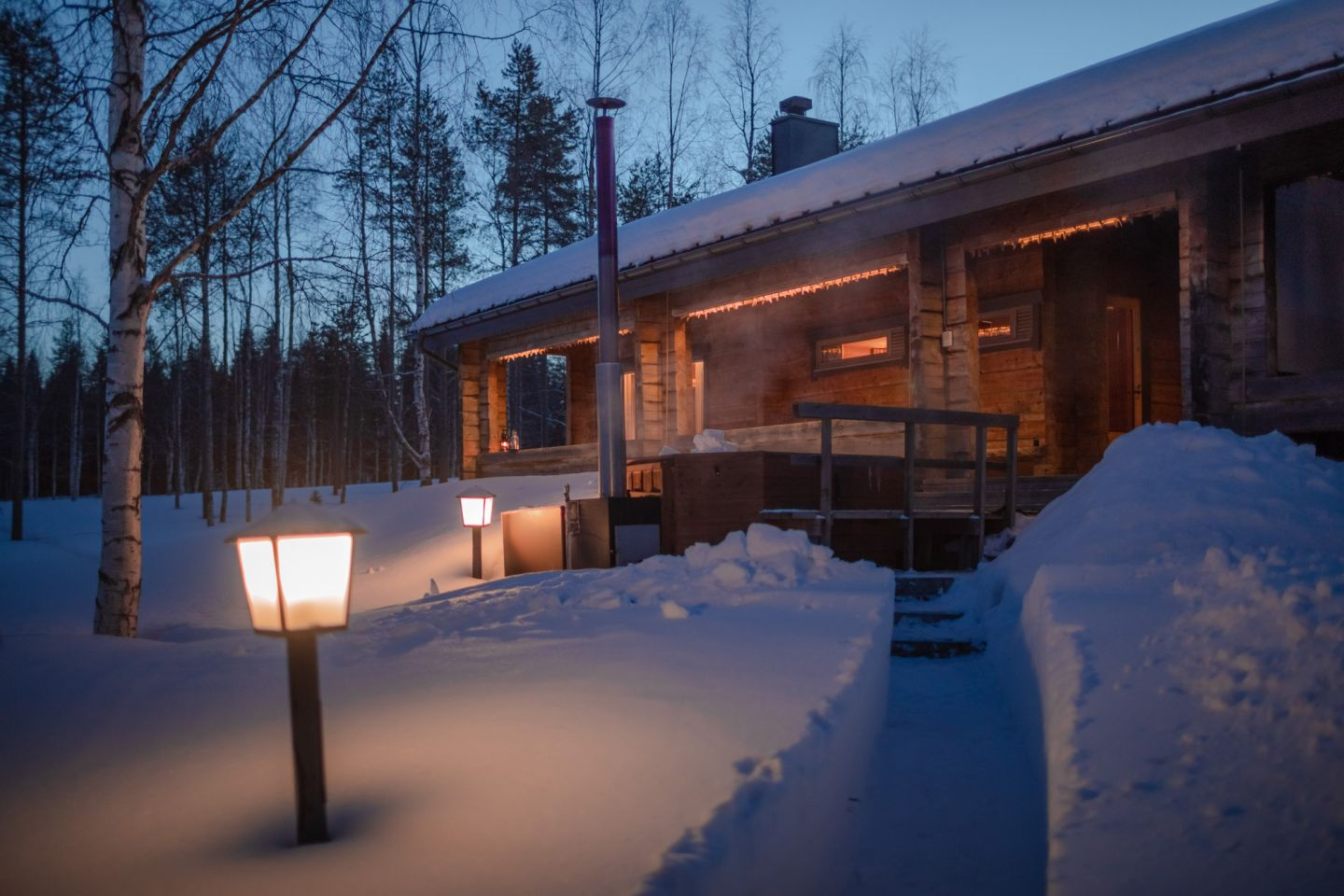Sauna by the lake in the winter, at Sunday Morning Resort in Finnish Lapland