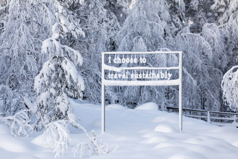 Sustainability art exhibit at Ranua Wildlife Park in Lapland, Finland