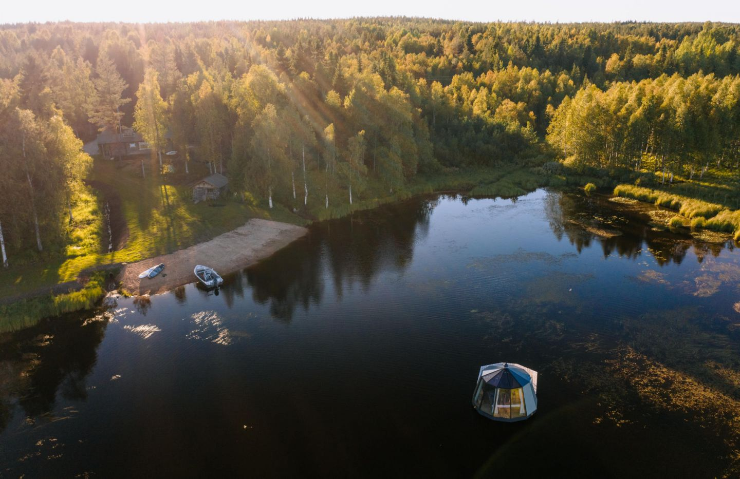 Floating igloo at Ollero Eco Lodge in Finnish Lapland