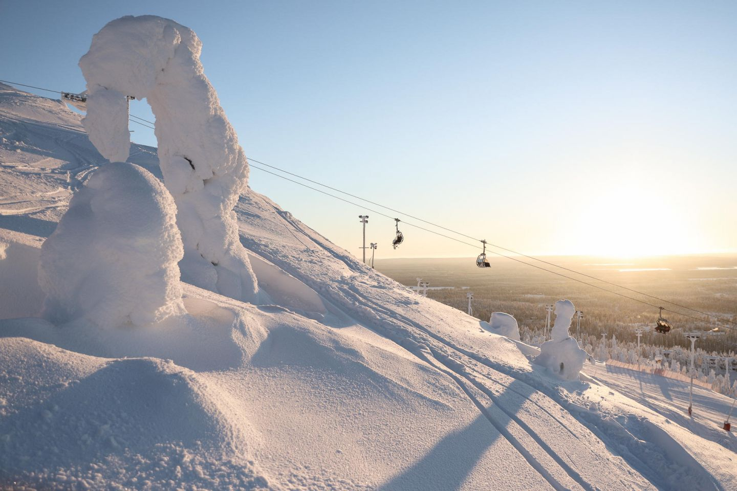 Chair lifts at the Ruka Ski Resort in Finnish Lapland