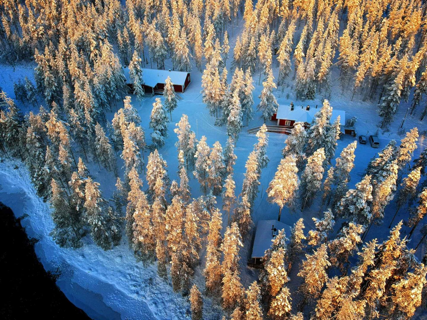 Aerial view of Naali Lodge in Lapland Finland
