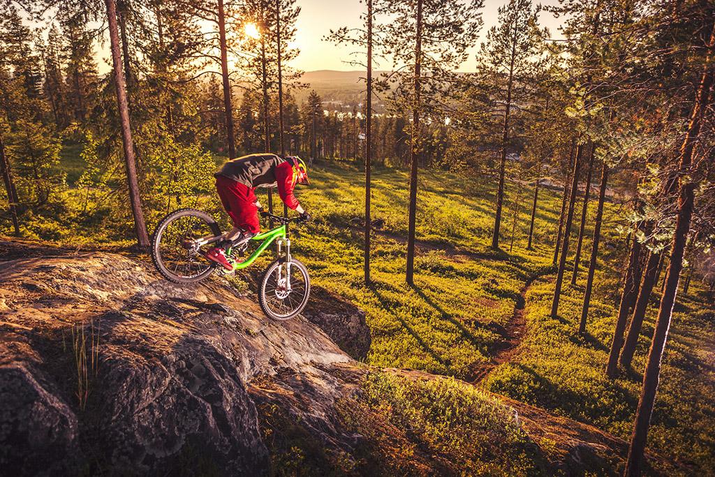 Mountain biking under the Midnight Sun in Lapland, Finland