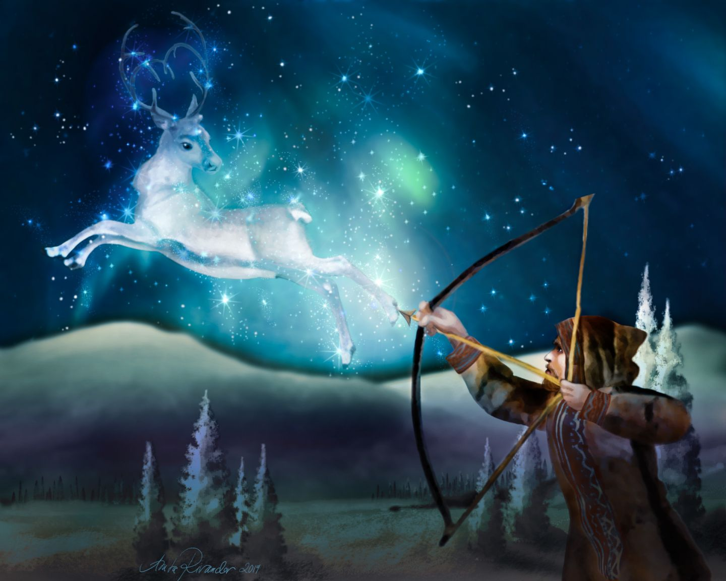 A hunter aims a bow and arrow at a cosmic reindeer manifesting as the Northern Lights (aurora borealis)