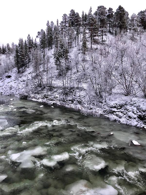 Karigasjoki jäätymässä