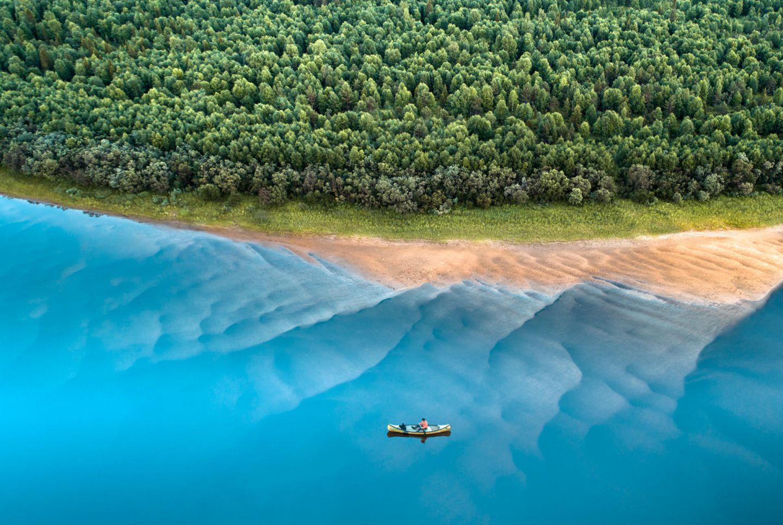 Canoeing in Lapland in summer