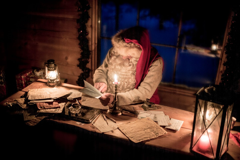 Santa working hard in Finnish Lapland