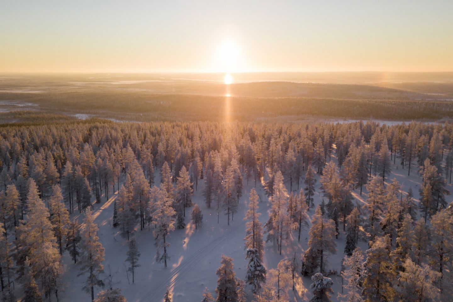 A sunny day in winter in Finnish Lapland