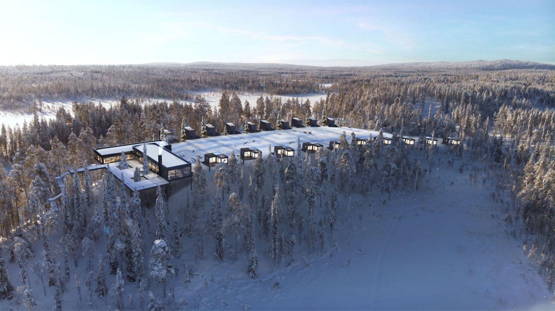 Aerial view of Kalliojärvi Arctic Resort