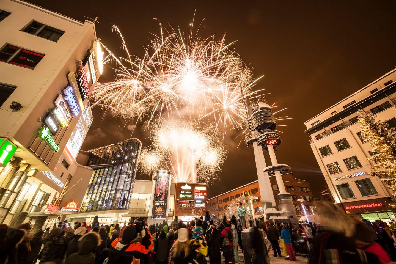 Fireworks over Rovaniemi, Finland